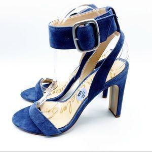 Sam Edelman Blue Suede Ankle Strap Heels Block 8.5